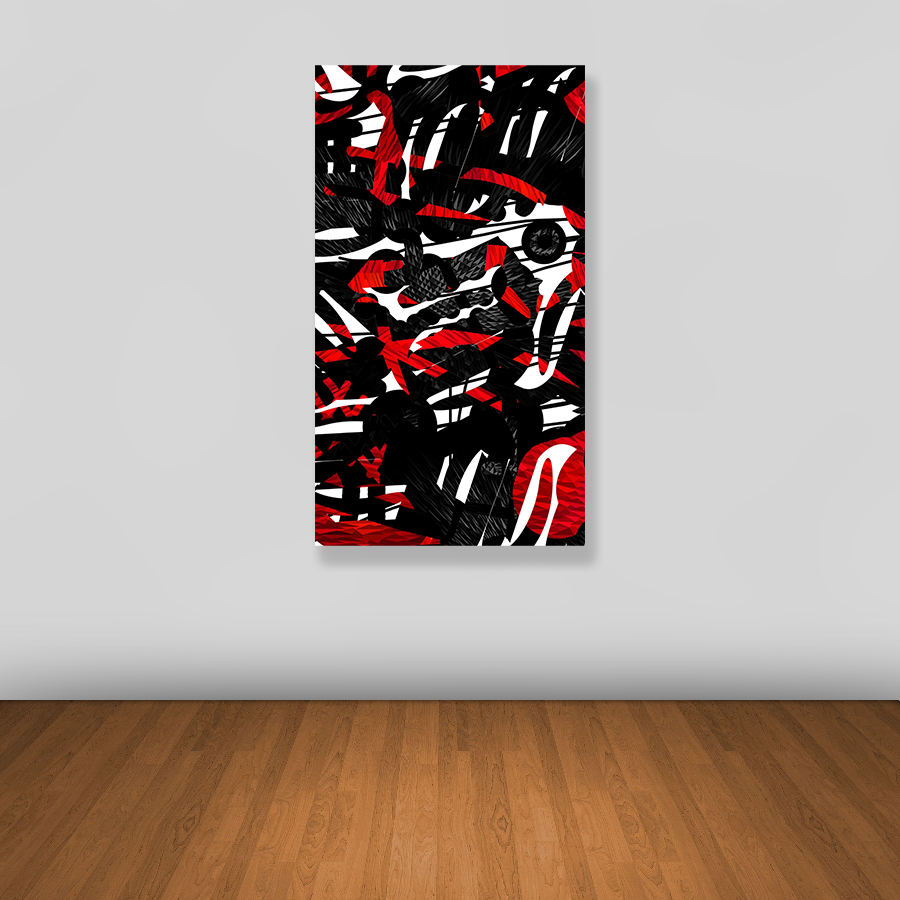 Tablou canvas abstract BLACK, RED AND WHITE